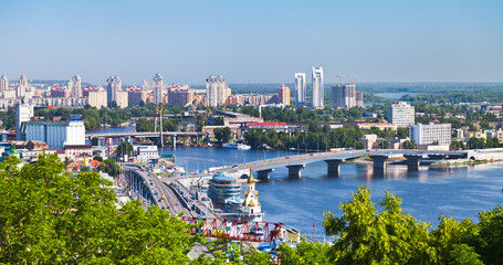 Door stickers Kiev Kiev cityscape and Dnieper river