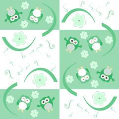 Cute seamless flower owl background pattern