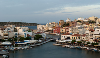 Agios Nikolaos. View on evening town and Voulismeni lake