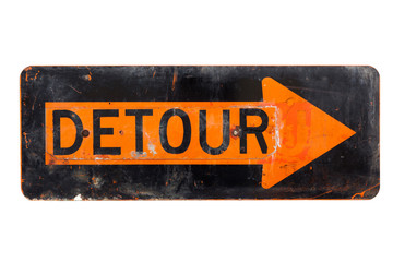 Detour sign - old orange and black  road sign