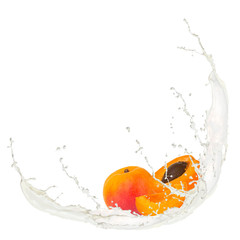 Acrylic Prints In the ice Milk splash with apricots isolated on white