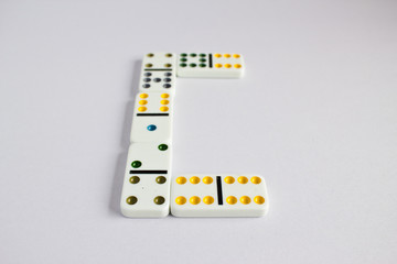 colorful dominos isolated on white background