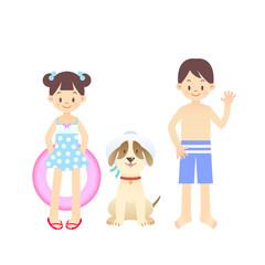 子供 夏休み 海 イラスト