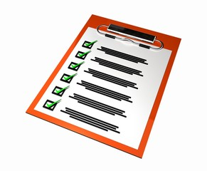 Orange note paper clipboard with check list