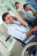Disabled worker on the phone