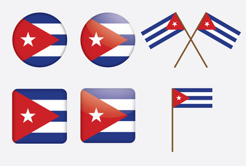 set of badges with flag of Cuba vector illustration