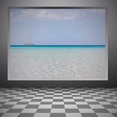 the sea inside a window