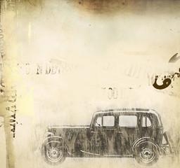 retro car over grunge