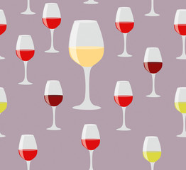 Elegant seamless of glasses of red and white wine on color backg