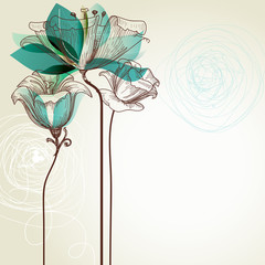 Fotobehang Abstract bloemen Retro floral background