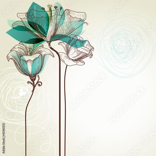 Fototapete Retro floral background