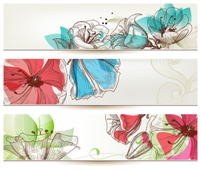 Spoed Fotobehang Abstract bloemen Floral banners vector