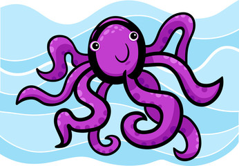 cartoon illustration of cute octopus
