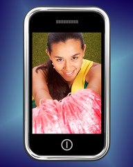 Smiling Cheerleader Picture On Mobile Phone