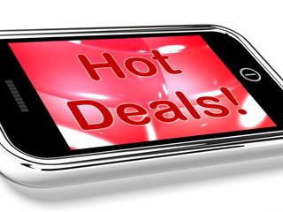 Hot Deals On Mobile Screen Represents Discounts Online