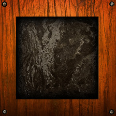 marble with wooden frame