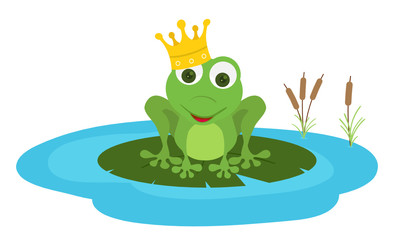 prince frog seat in a leaf pond