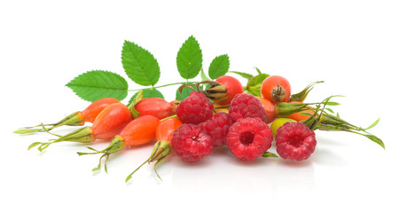 raspberry and rosehip berries on a white background close-up