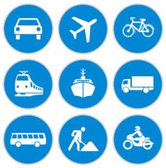 Blaue Verkehrsschilder