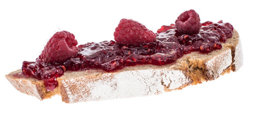 Bread with Raspberry Jam on white