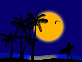 Sunset on tropical paradise