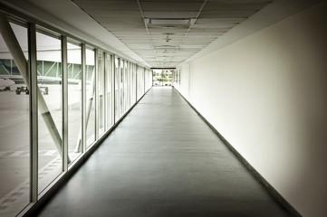 Airplaine interior hallway