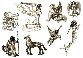 A large series of mystical creatures. Drawings into vector