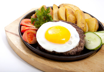 Steak with potato and egg