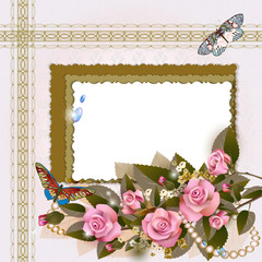 Frame with pink roses and pearls on romantic background