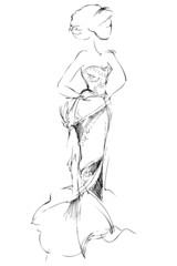 a sketch of girl of blonde is in a beautiful evening long dress