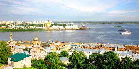 Pleasure boats travel along the Volga in Nizhny Novgorod