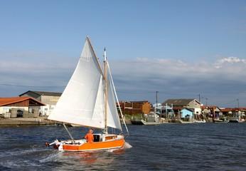 voilier ancien,vieux gréement,bassin d'arcachon