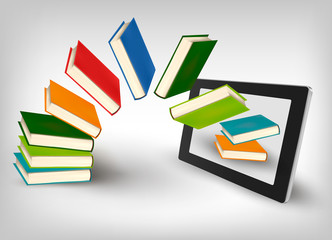 Books flying in a tablet