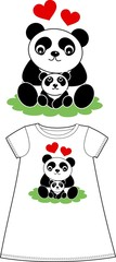 panda pattern for children wear