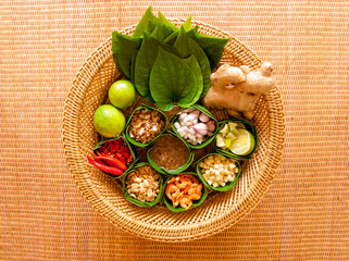 Mieng Kham (Thai Leaf-Wrapped Snack)