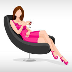vector illustration of lady sitting in couch with drink in hand