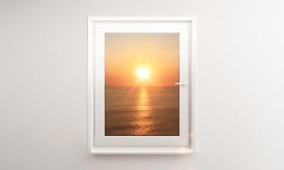 sunset outside window