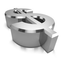 3d Silver Dollar symbol side view
