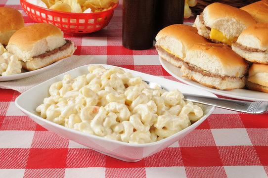Macaroni salad with mini cheeseburgers