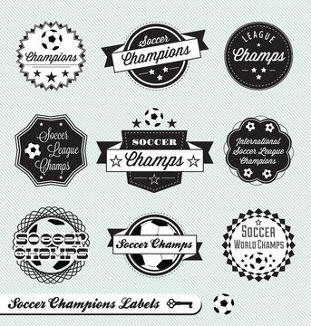 Vector Set: Soccer Champs Labels