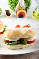 Sandwiches with mozzarella, tomato and lettuce
