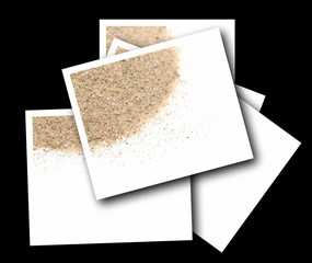 Set empty photos with desert sand isolated on black