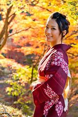 japanese kimono woman in autumn