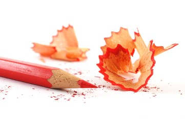 red crayon wiht shavings