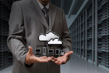 Poster Pixel Businessman show cloud network icon on server room