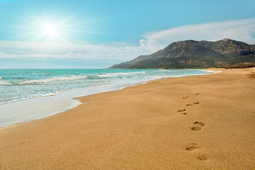 Footprints on the Patara beach  in Turkey