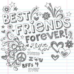 Best Friends Forever Sketchy Doodles Back to School Vector