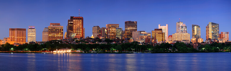Fototapete - Boston city at night