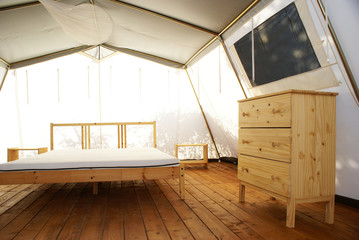 inside a large luxurious tent