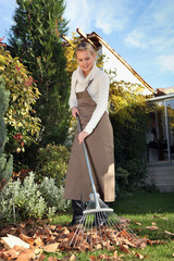 Woman raking leaves in  the garden